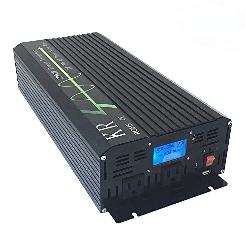KRXNY Full 2000W Peak 4000W Off Grid Pure Sine Wave 12V DC to 120V AC 60HZ Power Inverter Converter for Home Car Use with LCD Display USB Port by KRXNY