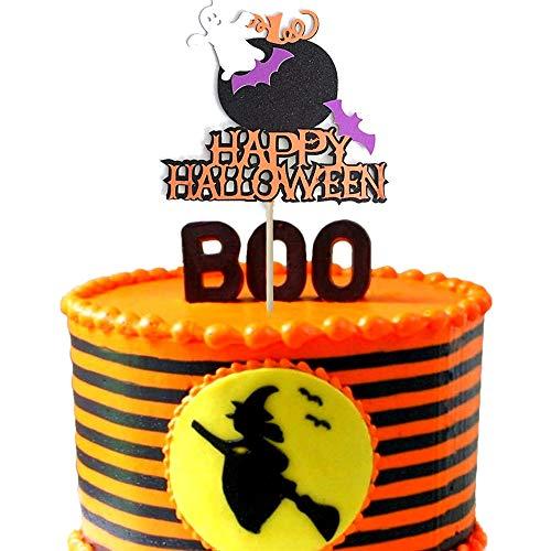 Sakolla Halloween Pumpkin Bat Cake Toppers Halloween Cake Decoration for Halloween Party Decorations -