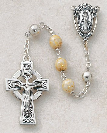 Sterling Silver Semi-Precious Connemara Marble Rosary by Christian Brands