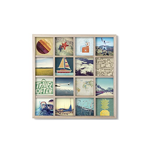 Umbra Gridart 4x4 Picture Frame - DIY Gallery Style Multi Picture Photo Collage Frame, Displays 16 Square 4 by 4 inch Photos, Illustrations, Art, Graphic Text & More, Natural