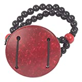 NOVICA Coconut Shell Plastic Wood Beaded Bracelet, 'Lunar Glow'