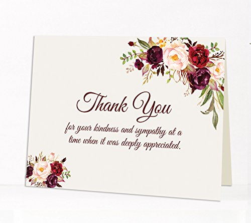15 Sympathy Acknowledgement Cards, Funeral thank you cards, Includes Envelopes