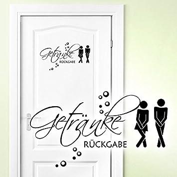 Grandora W5443 Wandtattoo WC Aufkleber Getränke Rückgabe Mann / Frau  Toilette Türkis (BxH) 20