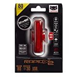 CAT EYE - Rapid X2 USB Rechargeable LED Bike Safety Tail Light, Rear, 80 Lumens