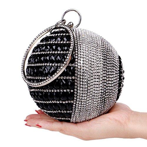 Lady Cena Black Vestito FFLLAS Rotonda Diamond Borsetta Pacchetto Sacchetto Black Sera xqwUEF