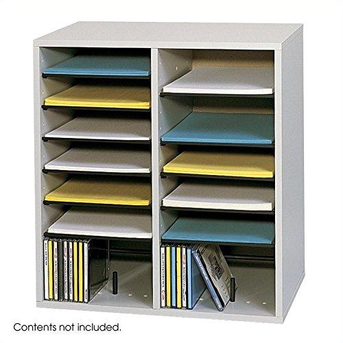 Scranton & Co Grey 16 Compartment Wood Adjustable File Organizer