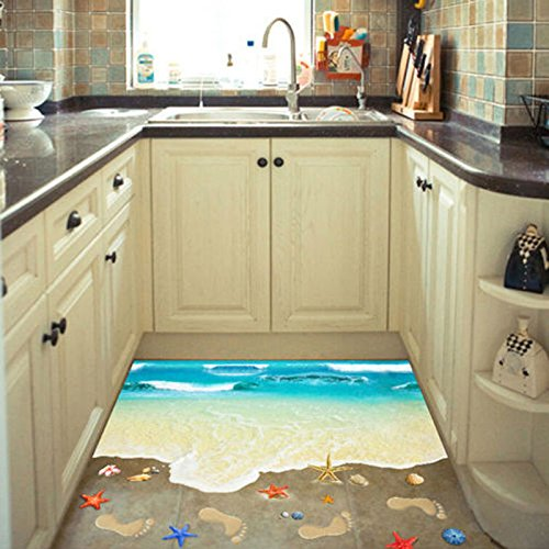 3D Beach Floor Wall Sticker Removable Mural Decals Vinyl Art Living Room Decor homelove17
