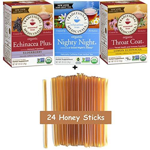 - Traditional Medicinals Tea - Organic Variety Sampler - (Pack of 48 Tea Bags   3 Boxes) Nighty Night, Throat Coat Lemon, Echinacea Plus Elderberry, Naturally Caffeine Free Herbal Tea