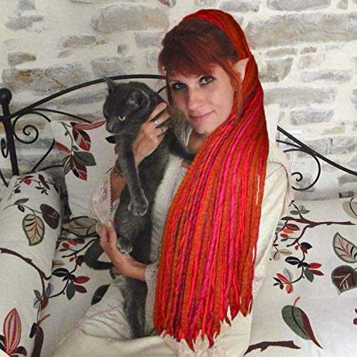 Dread Falls Fair Witch Red Dreads 112 Yarn Dreadlocks Wicca hair falls Tribal Fusion wool dreads Belly Dance costume hair piece Gothic dreads extensions