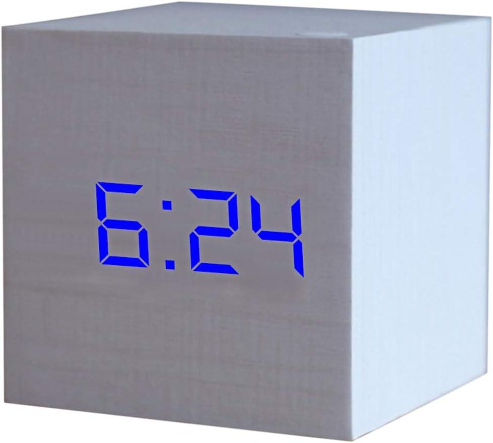 Mini Horloge /Électronique Cubique R/éveil Num/érique en Bois Affichage De LHeure Chevet De La Chambre Num/érique LED Horloge Calendrier D/écoration 60 Cm