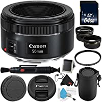 Canon EF 50mm f/1.8 STM Lens 0570C002 + 64GB SDXC Class 10 Memory Card- Deluxe Bundle- International Version (No Warranty)