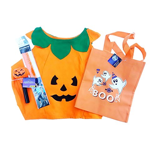 [Children's Pumpkin Costume with Flashlight, Boo Treat Bag and Safety Wristband] (Boo Costume Toddler)