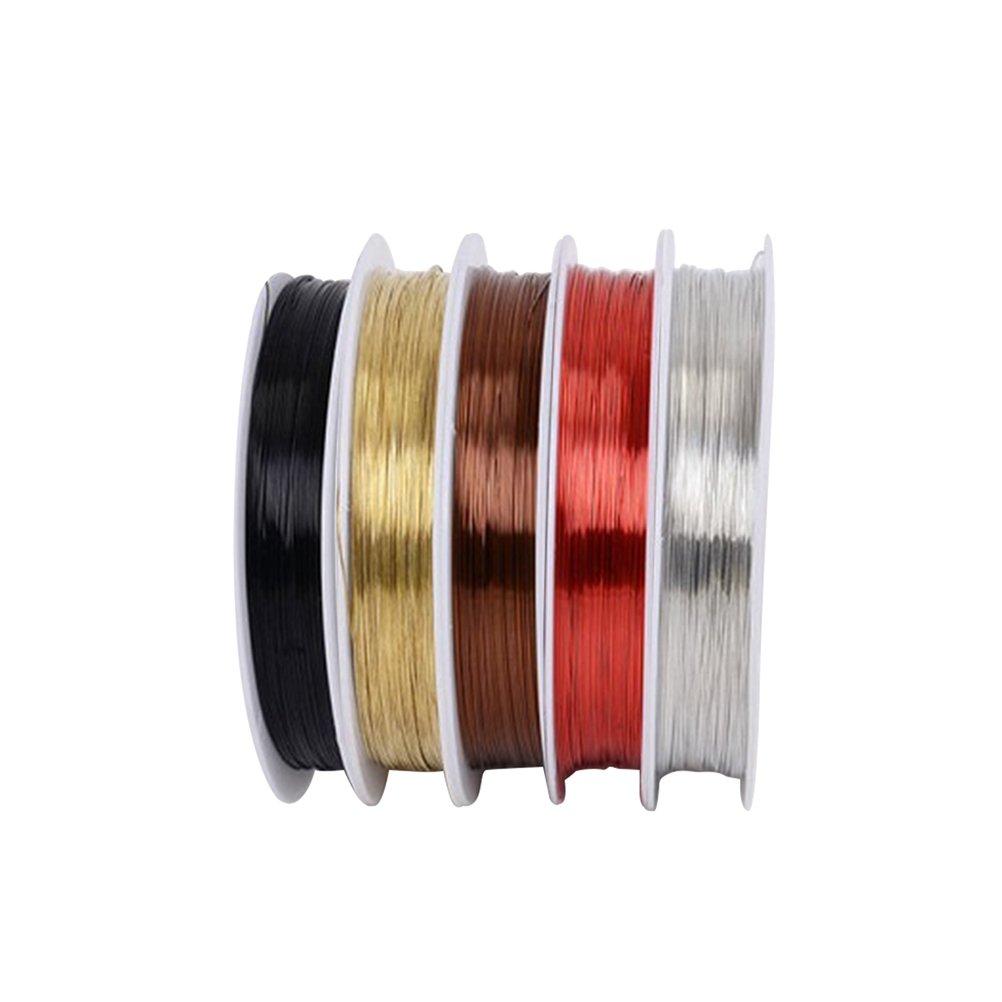 Rouge Bronze + laiton + Noir + argent + caf/é rosenice 5/r/ôle non rev/êtu fil de cuivre Trouble Resistent Pure Doux Fil de cuivre perles Fil r/ôle 55YD pour les bijoux artisanat perles Faire