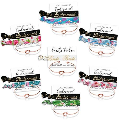 Mookoo Bridemaid Love Knot Bracelets Set 7 Set Bridesmaid Hair Tie and Bracelets Bridal Shower Cuff for Girls Women (Bridesmaid)