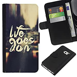 KingStore / Leather Etui en cuir / Samsung Galaxy S6 EDGE / Life Goes On Nyc Cab texto Vignette City