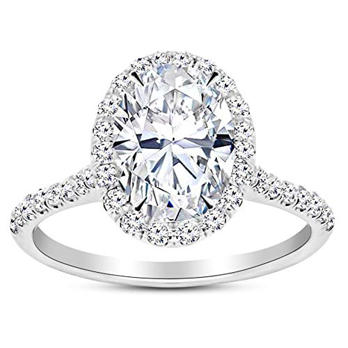 1.5 Carat GIA Certified 14K White Gold Halo Oval Cut Diamond Engagement Ring (1 Ct G Color SI1 Clarity Center)