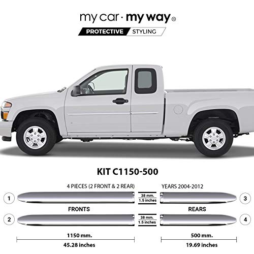 MY CAR MY WAY (Fits) Chevrolet Colorado 2004-2012 Extended Chrome Body Side Molding Cover Trim Door Protector