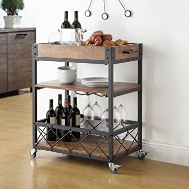 Myra Rustic Mobile Kitchen Bar Serving Cart, Wood and Metal Rolling Serving Cart