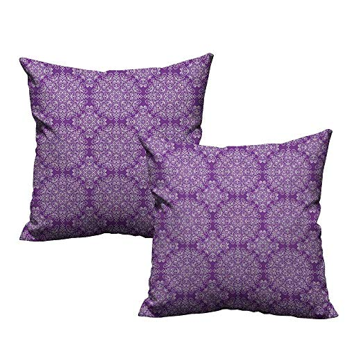 (warmfamily Creative Pillowcase Purple Mandala Classic Style Victorian Swirled Floral Branches with Ethnic Effects Design with Hidden Zipper W16 xL16 2 pcs)