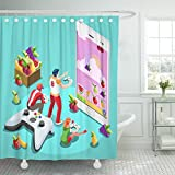 Emvency Shower Curtain Video Game Arcade UX Development Gamer Person Gaming Online Console Controller Android Phone Computer 3D Shower Curtain 60 x 72 Inches Shower Curtain with Plastic Hooks