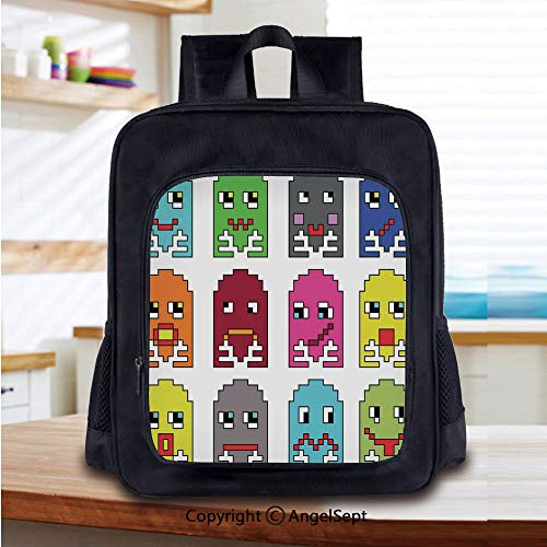 Lightweight Backpack 90s Vintage Video Games Style Cartoon Showing Vary Emotions with Stroke Art Print School Bag for Kid Girls Boys Travel College School Bags,Green Yellow