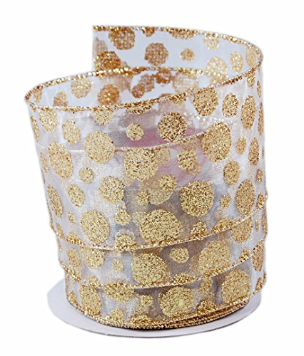 Gold-colored Glitter Polka Dot Wired Ribbon #40 - 2.5in x 10 yards