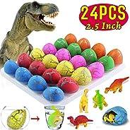 24 Pcs Easter Eggs Hunt Dinosaur Eggs, Large Dinosaur Eggs That Hatch in Water Dinosaur Party Favors for Kids Boys Easter Ba
