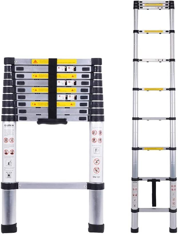 JISHIYU 2.9M / 9.5F telescópica Escalera Multiusos de Aluminio Escalera telescópica de extensión Extender portátil Plegable General Perfil