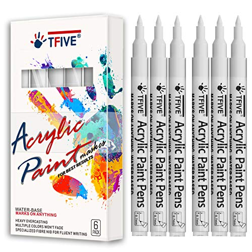 White Marker Paint Pens - 6 Pack Acrylic White Permanent Marker, 0.7mm Extra Fine Tip Paint Pen for Art projects, Drawing, Rock Painting, Stone, Ceramic, Glass, Wood, Plastic, Metal, Canvas DIY Crafts