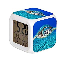 Aekdie LED Alarm Colock 7 Colors Changing Digital Desk Gadget Digital Alarm Thermometer Night Glowing Cube led Clock Home Children's Black and White Turtle