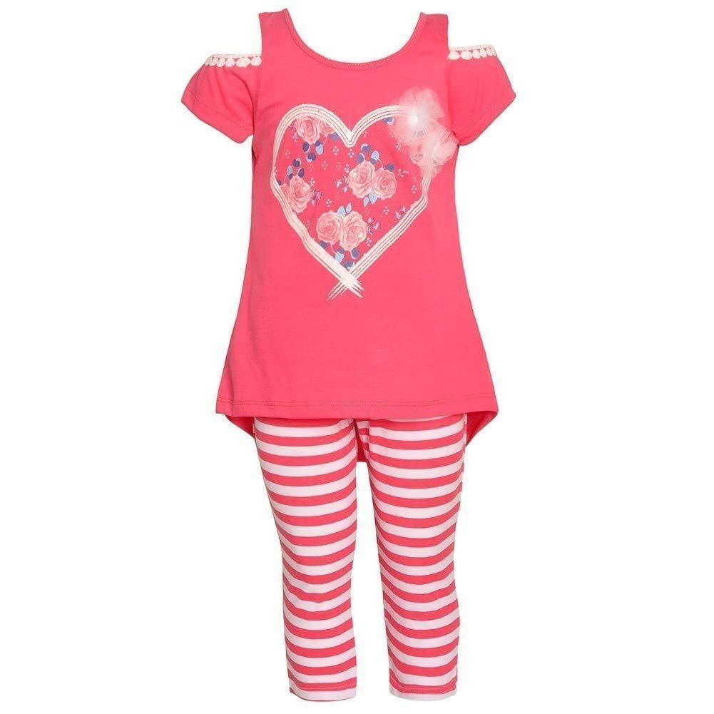 Littoe Potatoes Little Girls Coral Floral Heart Stripe 2 Pc Legging Set 4-6X