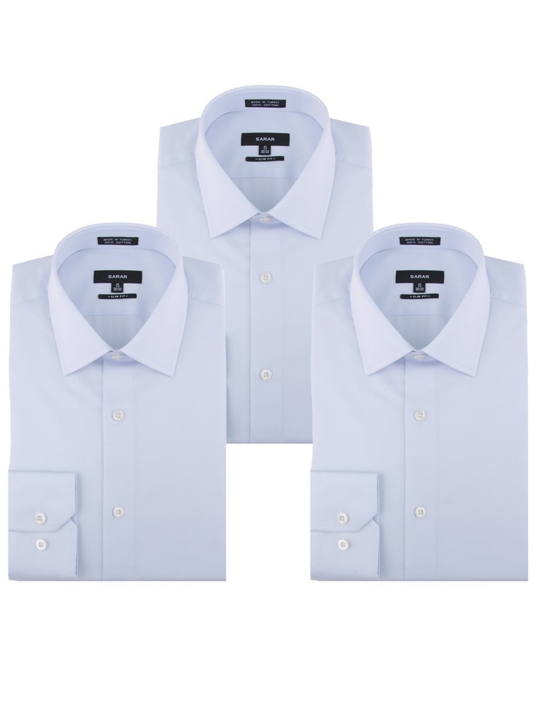 SARAR Men's 3 Pack Slim Fit Dress Shirt Point Collar Pocket Free Cotton Solid Barrel Cuff Blue Business Men by SARAR