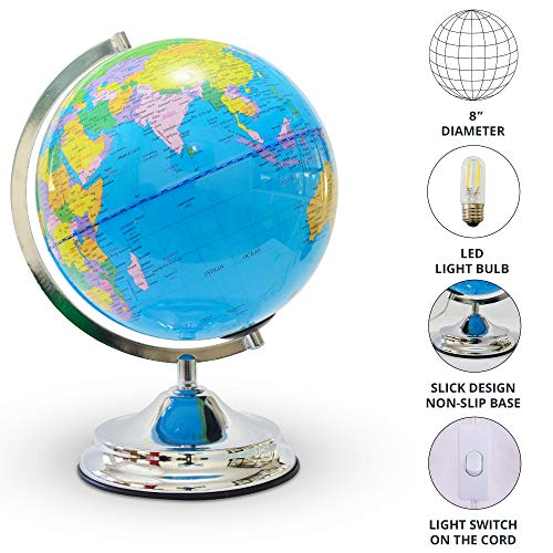Illuminated Kids Globe with Stand – Educational Gift with Detailed World Map and LED Night Light (Power Cord Included) by Home Premium (Image #3)