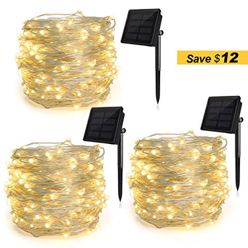 Heepow Solar String Lights Pack 3 (200LED 8 Modes 72ft), 3-Strand Copper Wire Lights Auto On/Off Indoor/Outdoor String Lights for Christmas Halloween Carnival Party Decorations (Warm White) -