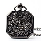 Zxcvlina Classic Smooth Creative Unisex Black Octagonal Retro Pocket Watch Boutique Mechanical Pocket Watch with Chain Suitable for Gift Giving