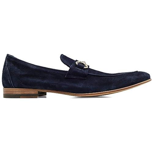 Men/'s Blue Rubber Suede Horsebit Loafers