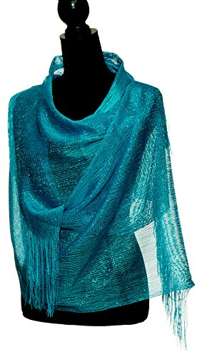 Petal Rose Sheer Mesh Glitter Sparkle Shawl Wrap Fringe Prom Weddings Party Evening Scarfs for Women (Turquoise)