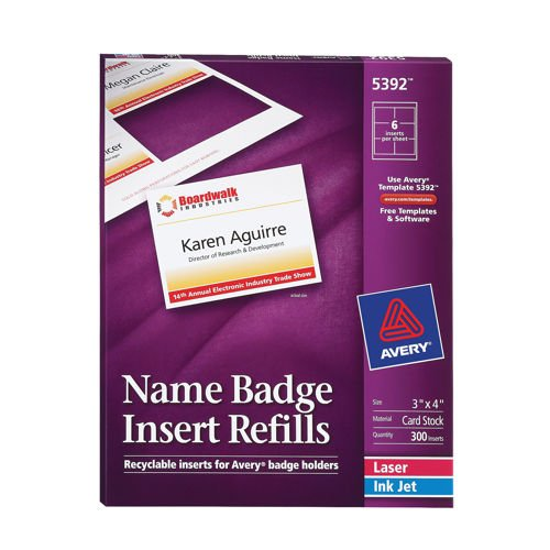 "Avery Name Badge Refill Inserts White 3"" x 4"" 300ct AVE 5392"