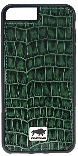 - Solo Pelle iPhone 7 Plus / 8 Plus Leather Carrying Case/Backcover Flex Made of Genuine Leather with Crocodile Embossing in Green Including Packaging