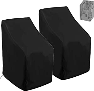 Patio Stackable Chair Covers 420D Waterproof Outdoor High Back Stackable Dining Chair Cover Patio Furniture Protector Fits up to 27.5 W x 31 D x 27.5 /40 H Inches, 2 Pack