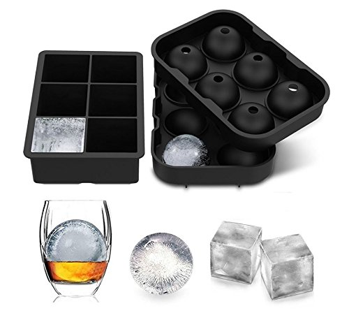Iced Silicone Ice Cube Tray Combination (set of 2) - Black Silicone 6 Giant Ice Hockey Cube Manufacturer with Cover - Kids Jelly Pudding Kids Jelly Milk Juice Chocolate Mold or Cocktail Whisky Particl