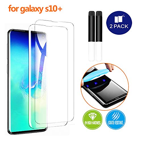 Johncase [2 Pack] New Upgrade Screen Protector Compatible for Samsung Galaxy S10 Plus / S10+, Fingerprint ID Full Edge 3D Curved Tempered Glass Film W/UV Liquid Adhesive Light Installation Kit