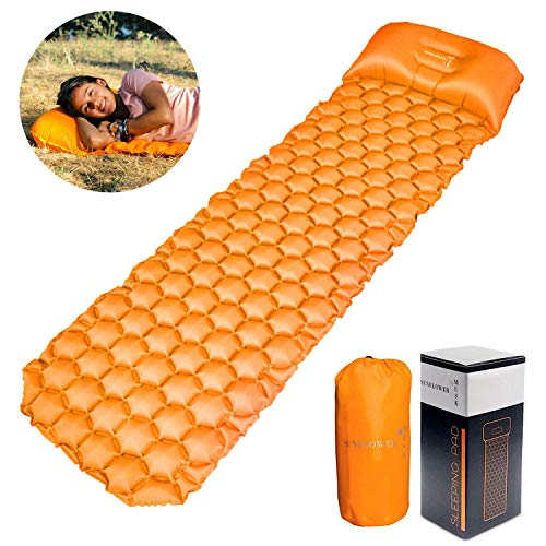 Sunflower Musk Inflatable Sleeping Pad w/Adjustable Pillow   Portable, Ultralight Compact Travel, Camping Sleep Mat   Cushioned Support   Waterproof, Sand Free Design (Orange) (Sunflower Inflatable)