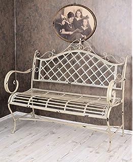 Gartenbank Eisen Metall Antik-Stil Garten Bank Gartenmöbel creme weiss 70cm