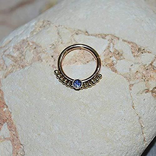 Amazon Com 2mm Sapphire Septum Ring Gold Nose Ring Septum