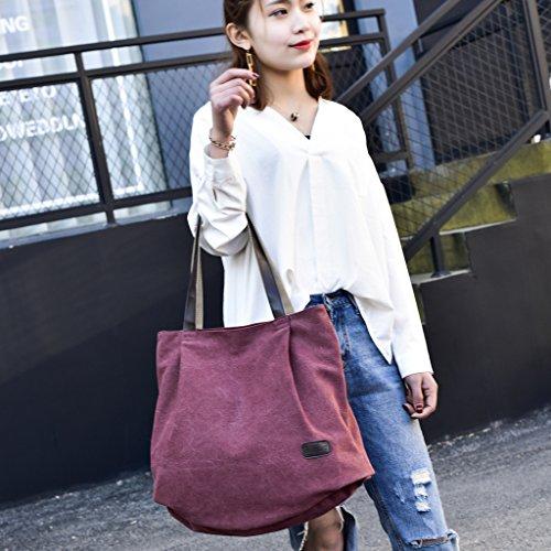 Handbag Totes Purses Hobo Wine Baoblaze Casual Women's Red Bags Canvas Zipper Everyday Shoulder Bq8fzFw