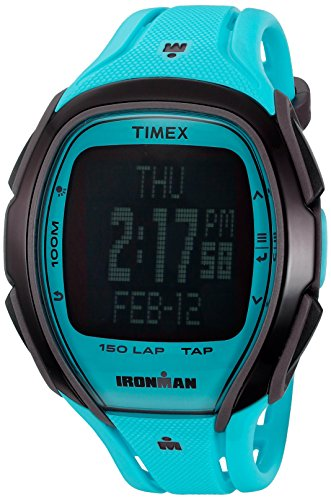 Timex Unisex TW5M00600 Ironman Sleek 150 TapScreen Full-Size Neon Blue Resin Strap (150 Lap Sleek Watch)