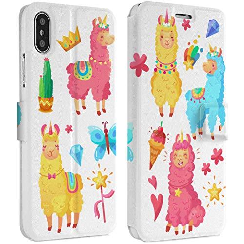Wonder Wild Princess Lama IPhone Wallet Case X/Xs Xs Max Xr 7/8 Plus 6/6s Plus Card Holder Accessories Smart Flip Hard Design Protection Cover Cute Girls Diamond Butterfly Love Falling Star Magic