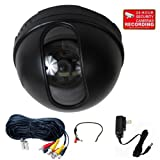 VideoSecu CCTV Dome Security Camera Built-in Sony CCD 480TVL 3.6mm Wide Angle Lens for Home DVR Surveillance System with Preamp Audio Microphone, Power Supply and Extension Cable 1VM Review