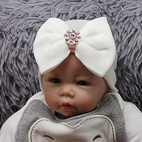 Bloodfin Newborn Hospital Hat Newborn Baby Hats With Pretty Bow Flower Pearl Perfect for Photo Shoots